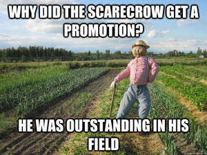 A scarecrow outstanding in his field